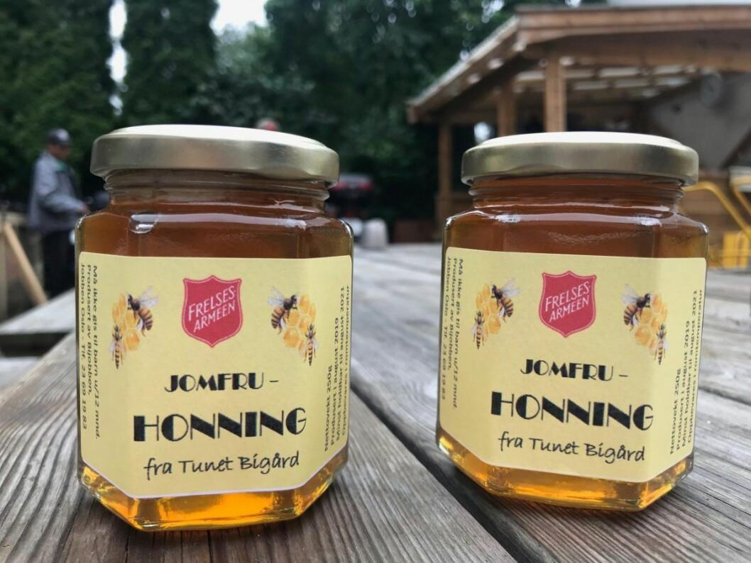 NM-honningen fra Jobben, eller Bijobben, selges på julemarked i Arbins gate. Foto: Jorunn Mathisen