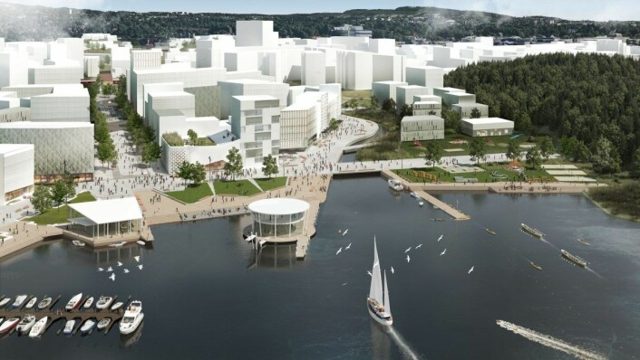 Her er plan- og bygningsetatens fremtidsvisjon for Bestumkilen og Skøyen. Men E18 blir liggende oppe i dagen, bak bygningene ned mot strandsonen. Illustrasjon: Plan- og bygningsetaten / Oslo kommune