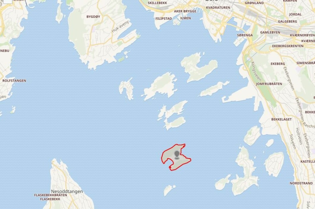 Langøyene ligger nord i Bunnefjorden. Skjermdump fra Wikimedia.