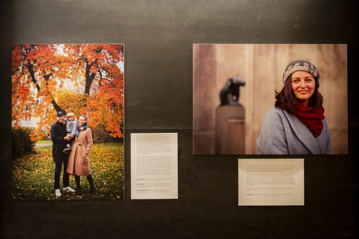 Portrettet av Trygve Eriksen, Andrea Sandnes og Herman Sandnes Eriksen (t.v) og Claudia Lucacel (t.h). Foto: Morten Lauveng Jørgensen