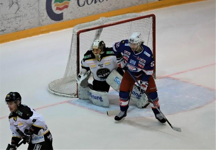 Filip Gunarsson hadde hjemmelagets beste sjanse i første periode. Foto: André Kjernsli