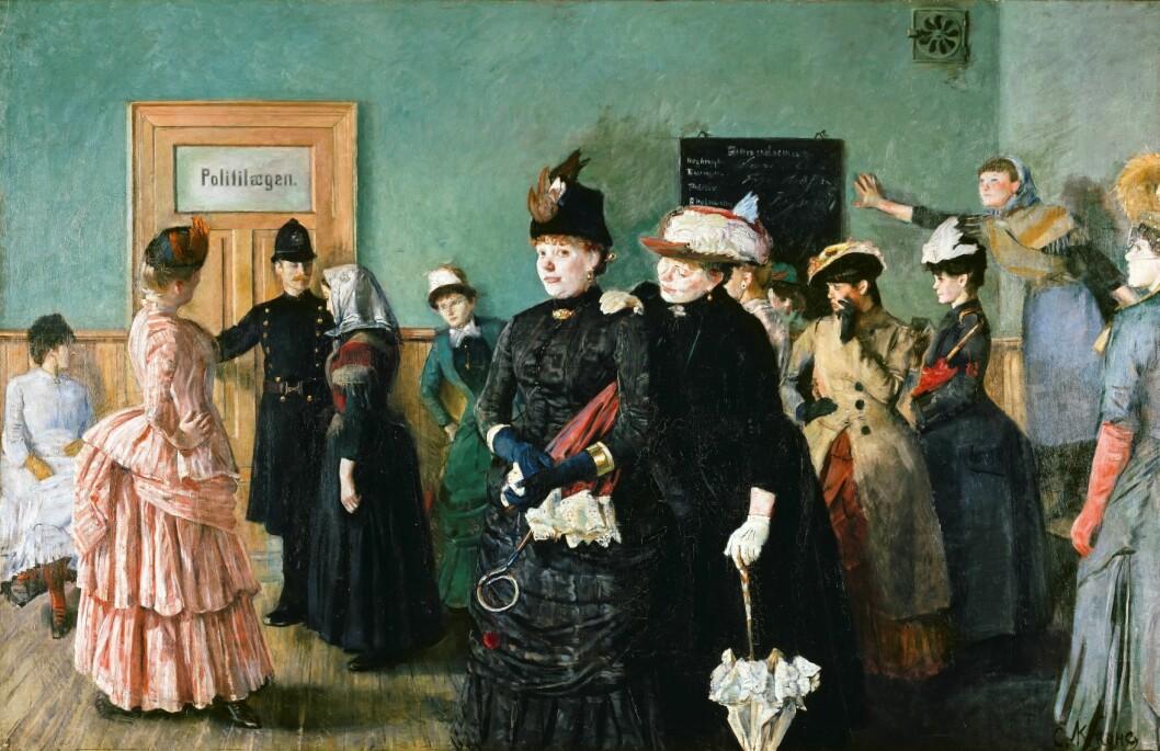 Ifølge forstanderne Kloumann og Omsted besto de kvinnelige innsatte hovedsakelig av prostituerte. Foto: Politilegens venteværelse av Christian Krohg, Nasjonalmuseet