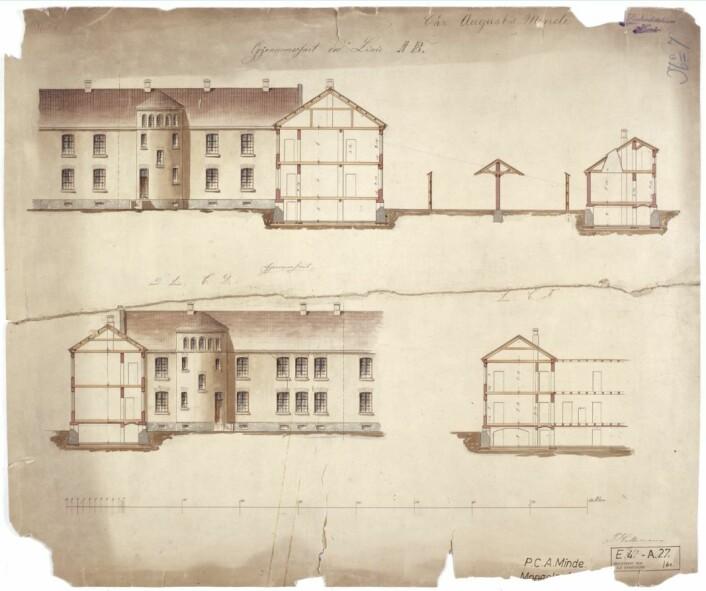 Fra Dollhus til Kristiania kommunale sinnssykeasyl. Tegning av P. Holtermann 1859, fra Byarkivets tegningssamling
