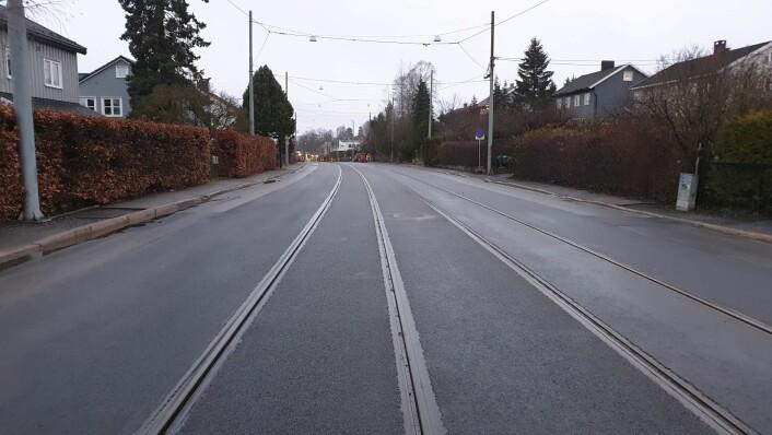 Grefsenveien ferdig oppgradert mellom Platåveien og Kjelsåsalléen holdeplass. Foto: Sporveien