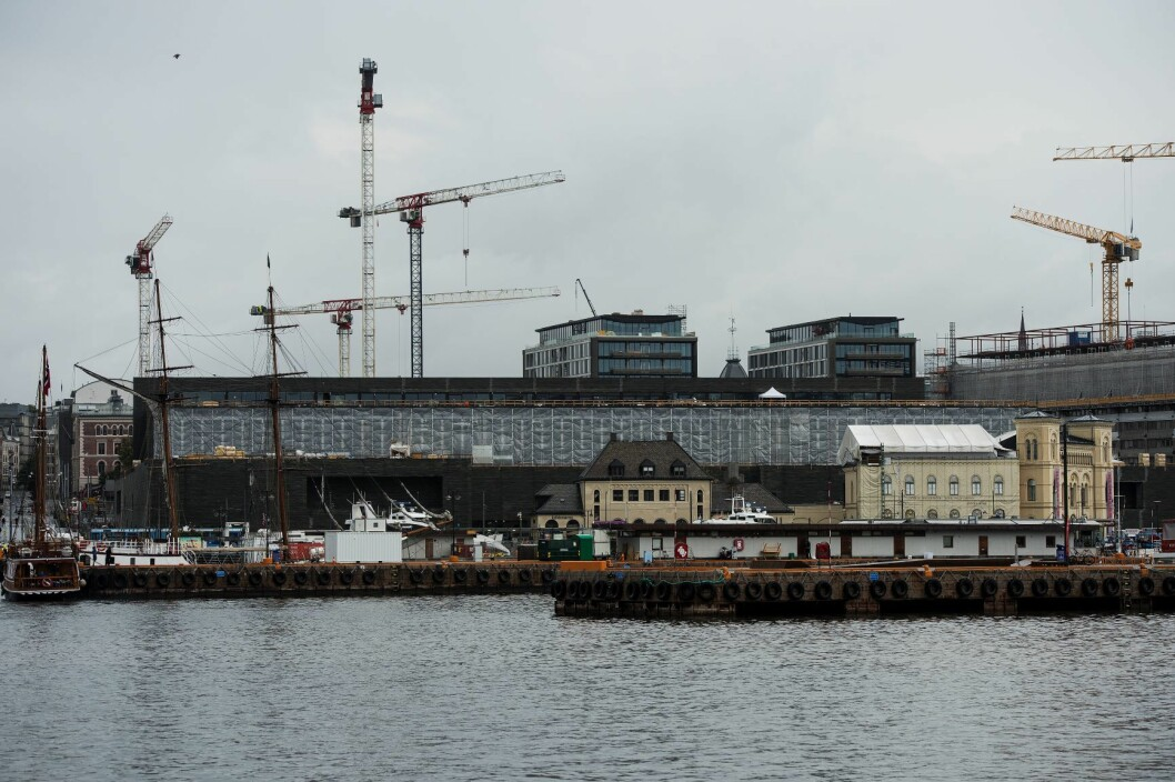 Her bygges det nye Nasjonalmuseet mellom Aker Brygge og Rådhusplassen i Oslo. Foto: Carina Johansen / NTB scanpix