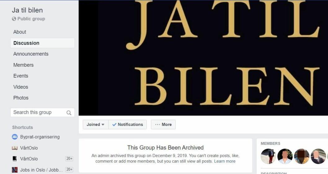 Facebook-gruppa Ja til bilen er nå arkivert. Det betyr at den ikke lenger er aktiv. Skjermdump fra Facebook