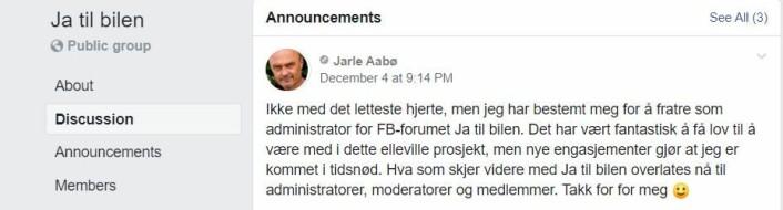 Administrator Jarle Aabø melder om sin fratreden. Skjermdump fra Facebook