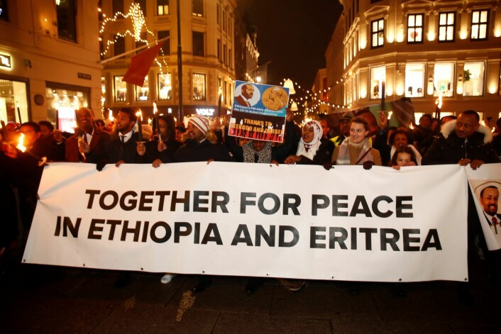 Fakkeltoget i forbindelse med tildelingen av Nobels fredspris i Oslo tirsdag kveld. Foto: Terje Pedersen / NTB scanpix