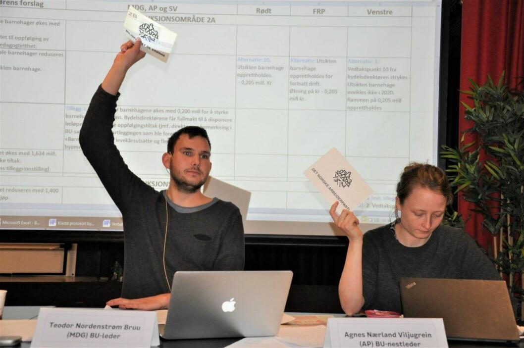 Bydelsutvalgets leder Teodor Bruu (MDG) og nestleder Agnes Nærland Viljugrein (Ap) stemte begge for nedleggelse av Utsikten barnehage. Foto: Arnsten Linstad