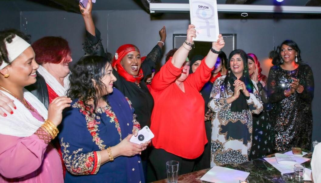 Bydelsmødrene i Alna i 2019. Fra venstre: Hidat Araya, Vibeke Bjørneskaret, Zia Qamar, Fawzia Mohammad Dahir, Darija Fabijanovic, Nasreen Begum, Rashida Perveen