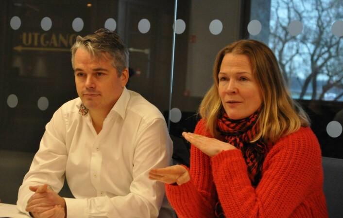 Bolteløkka-foreldrene Magnus Buflod og Åsne Seierstad argumenterte for paviljongskole i et møte med bystyrets skolepolitikere mandag. Dagen etter gikk de rødgrønne partiene ut og ga sin støtte til Bolteløkka FAU. Foto: Arnsten Linstad