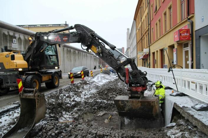 I Åkebergveien vil den oppgraderte gaten med nye sykkelfelt og opphøyde gangfelt stå klart sommeren 2020. Foto: NCC