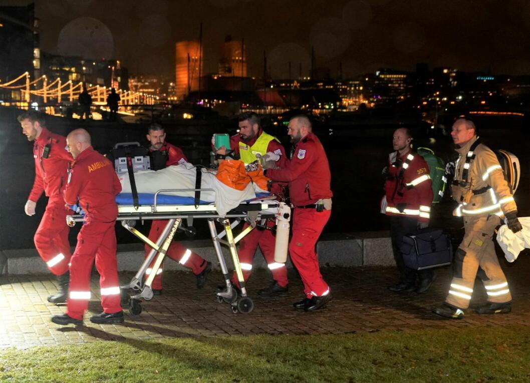 En person er erklært død etter å havnet i vannet utenfor Tjuvholmen fredag kveld. Foto: Heiko Junge / NTB scanpix