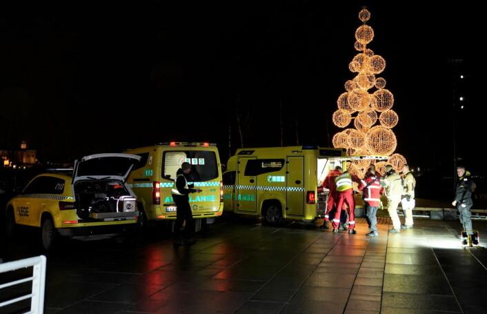 Det var et stort oppmøte fra samtlige nødetater etter at en mann falt i sjøen ved Tjuvholmen fredag kveld. Foto: Heiko Junge / NTB scanpix