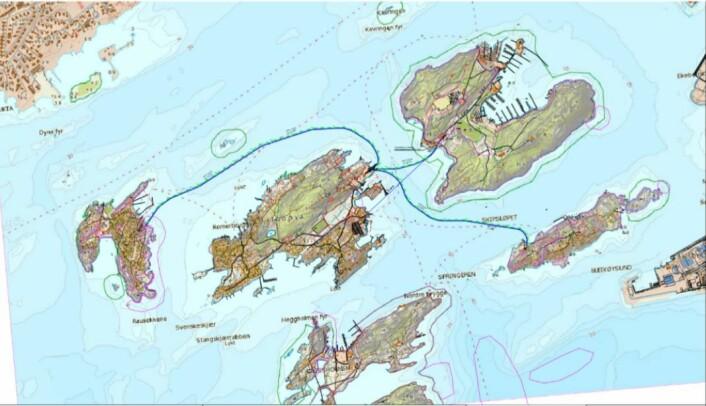 Foreløpig plan over vannforsyningen som skal etableres til øyene.