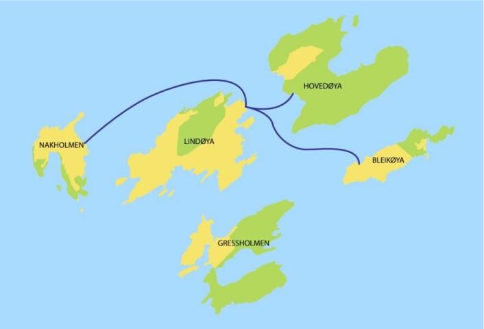 Enda et bilde av planen for vann- og avløpsledning mellom hytteøyene i Oslofjorden. Estimert kostnad: 15,3 millioner.