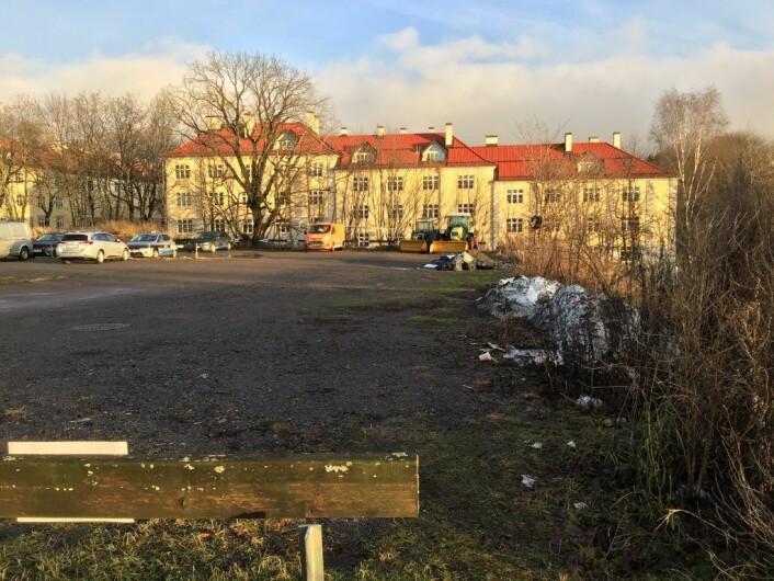 En tidligere fotballplass på Torshovtoppen som ble omgjort til parkeringsplass. I bakgrunnen eksisterende Torshov-bebyggelse som kan bli «overskygget» dersom tomten blir utbygd tett og kompakt med leiligheter, ifølge Frode Oldereid. Foto: Frode Oldereid