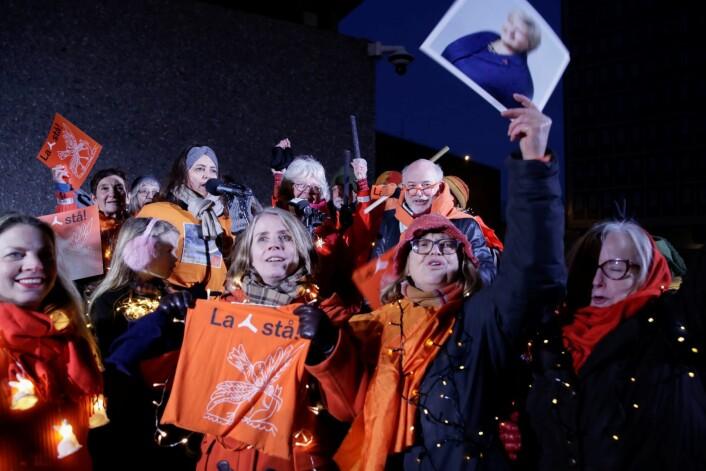 La Y-blokka stå, ropte demonstrantene. Foto: Vidar Ruud / NTB scanpix