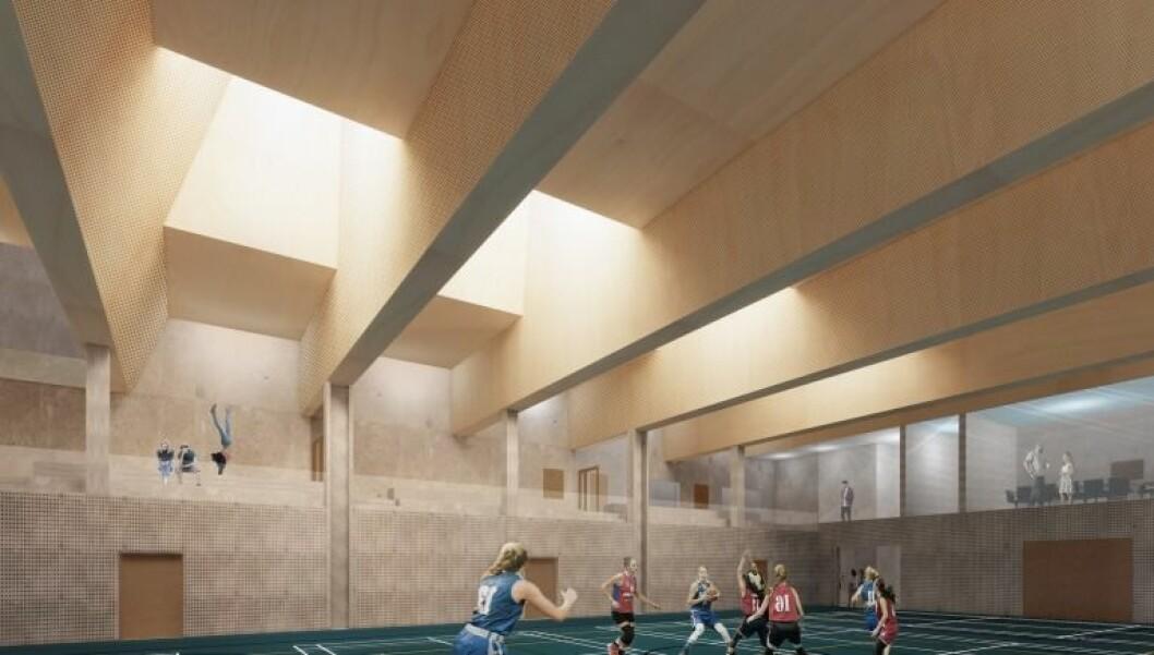 Den nye flerbrukshallen ved Frogner stadion skal i første rekke brukes av barna på Majorstuen skole. Illustrasjon: Dyrvik Arkitekter