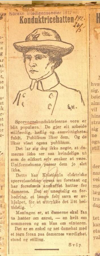 Konduktricehatten ble raskt populær blant de kvinnelige konduktørene. Kilde: Norske Intelligenssedler 26. mai 1917