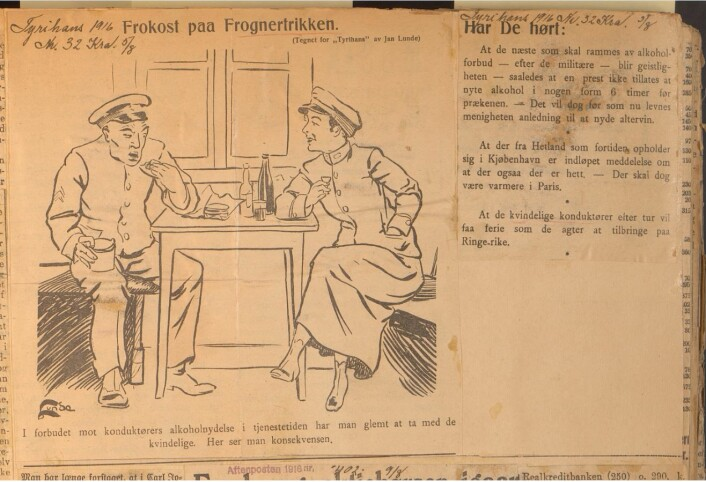 Alkohol i arbeidstida – og fullt lovlig ifølge Tyrihans. Kilde: Tyrihans, 05. august 1916
