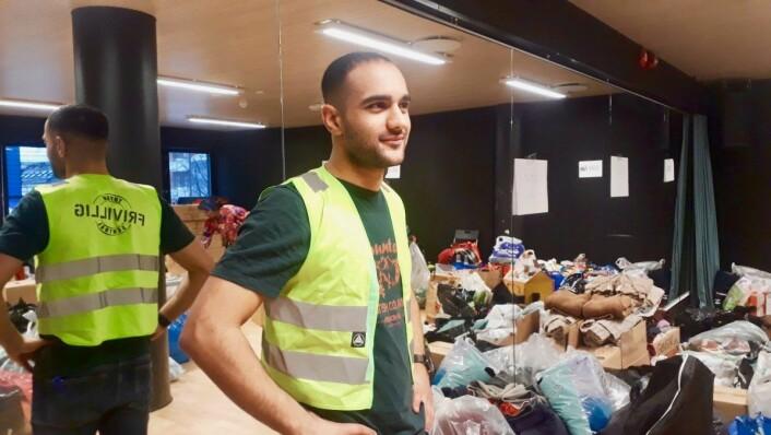 Ali Abdullah (23) er glad for at folk ønsker å bidra. Foto: Emilie Pascale