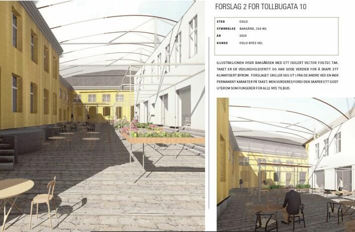Dette er et av forslagene fra NielsTorp arkitekter til hvordan bakgården kan se ut i fremtiden på den gamle krigsskolen. Illustrasjon: NielsTorp