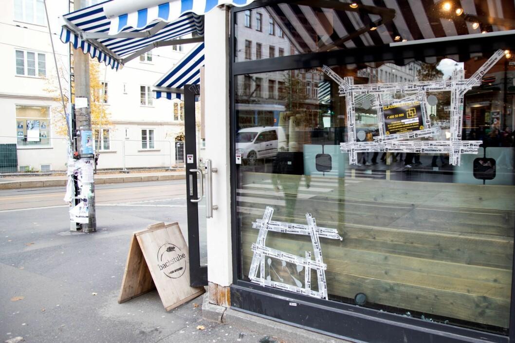 Bakeriet Backstube på Torshov ble truffet av skudd fra politiet under ambulansekapringen. Foto: Anders R. Christensen / NTB scanpix