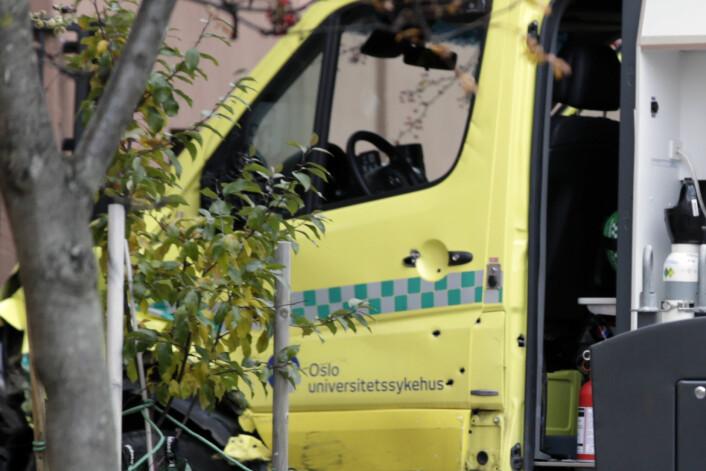 Politiet traff den kaprede ambulansen med flere skudd. Foto: Stian Lysberg Solum / NTB scanpix
