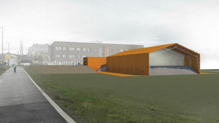 Slik vil det midlertidige bassenget på nedsiden av Løren skole bli seende ut. Illustrasjon: Bymiljøetaten