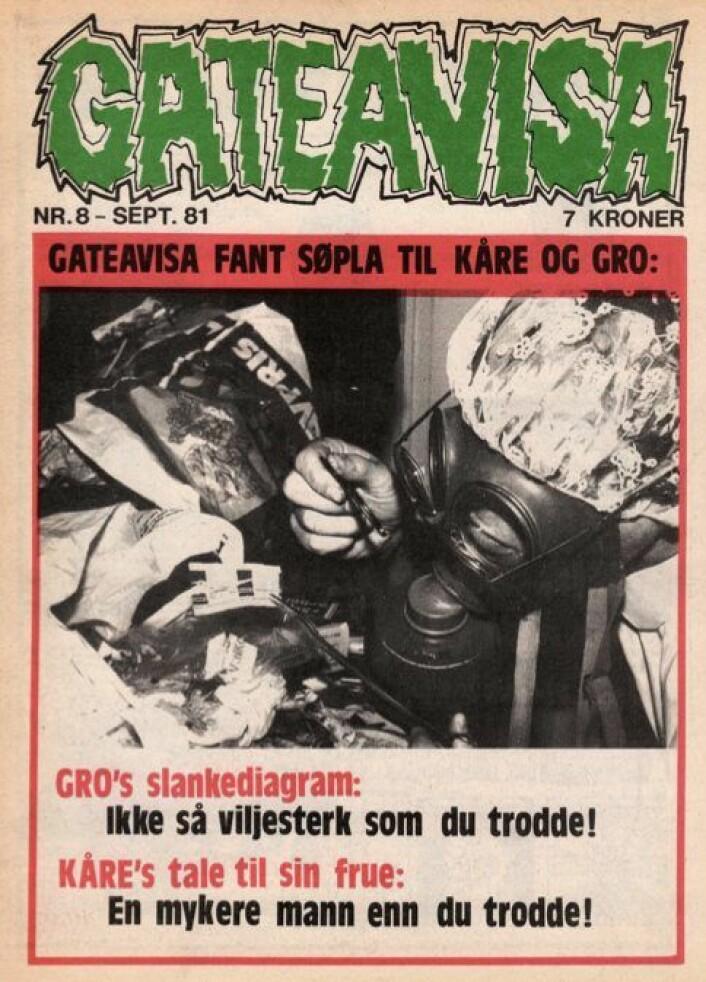 Det ble rabalder da Gateavisa i 1981 analyserte husholdningsavfallet til Gro Harlem Brundtland og Kåre Willoch. Foto: Audun Engh