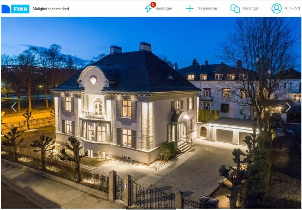En unik og 70 millioner kroner dyr boligeiendom i Sigyns gate på Frogner var fjorårets mest populære annonse på Finn.no. Foto: Skjermdump fra annonsen