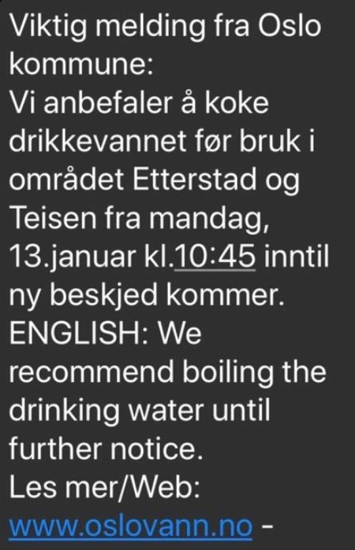 Folk på Etterstad, Teisen og Helsfyr må koke vannet, for å være sikre på at det er trygt.