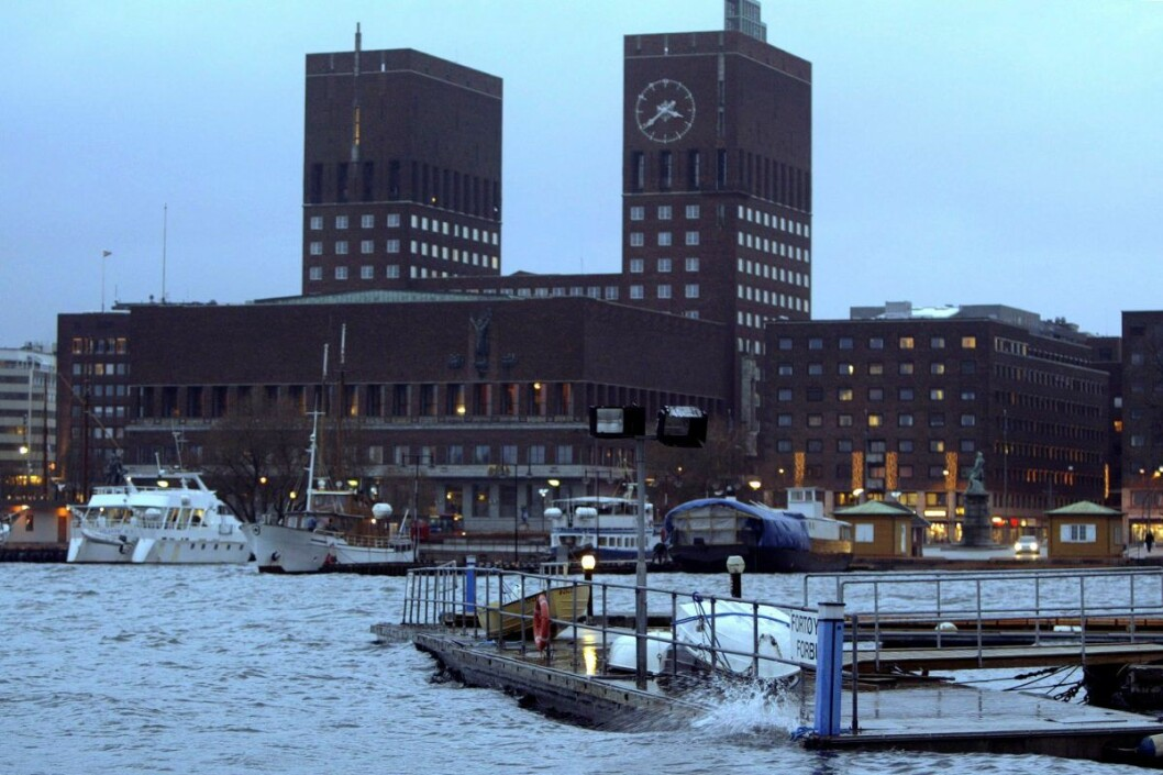 Ekstremt lavtrykk førte til høy vannstand innerst i Oslofjorden også i januar i 2005. Foto: Håkon Mosvold Larsen / Scanpix