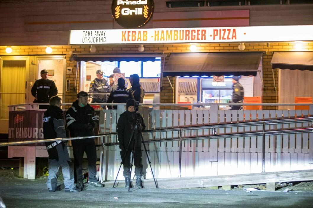 Skytingen skjedde ved Prinsdal Grill sørøst i Oslo. Foto: Terje Pedersen / NTB scanpix