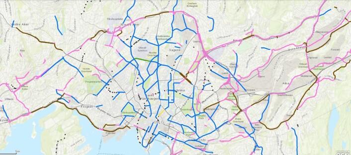 Plan for sykkelveinettet i Oslo. Her ser du dagens sykkelveier. Trykk på kartet for å forstørre det. Kart: Bymiljøetaten