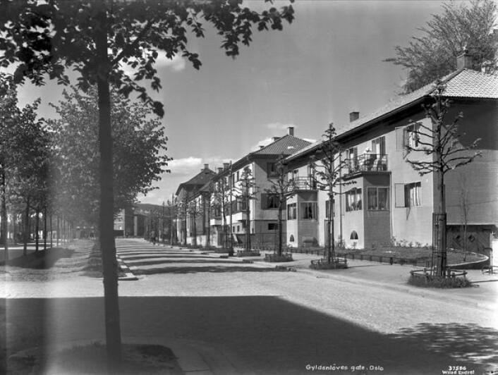 Gyldenløves gate 1-3 med brostein. Foto: Anders Beer Wilse / Oslo museum
