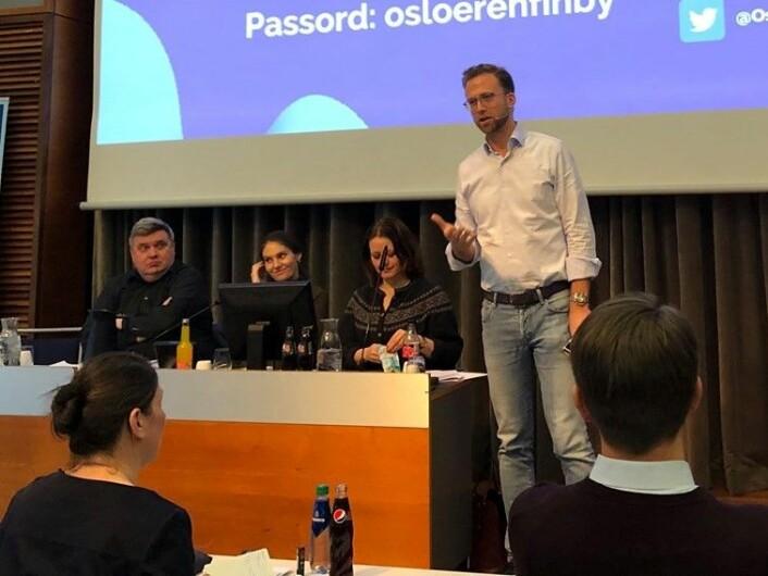 Norges ny kommunalminister Nikolai Astrup (H) under Oslo Høyres årsmøte. Foto: Per-Trygve Hoff