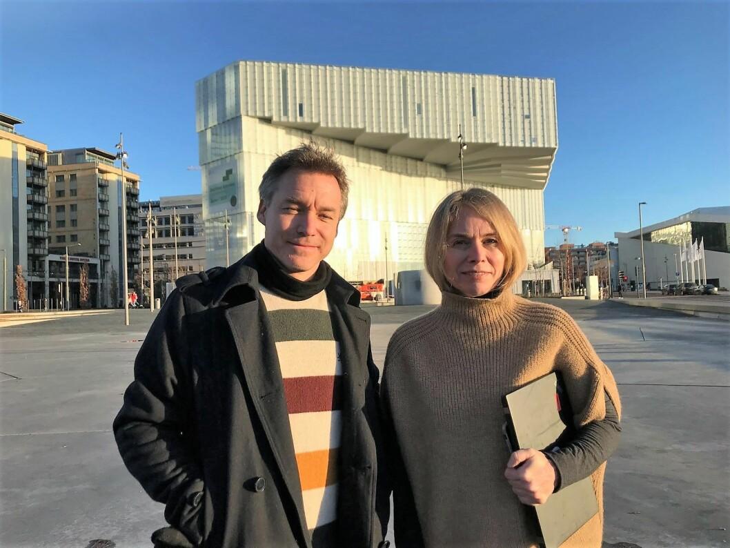 Nils Grønningsæter, ansvarlig Deichman Bjørvikas folkeverksted og Merete Lie, avdelingsdirektør for Deichman Bjørvika. Foto: Sunniva Adam/Deichman
