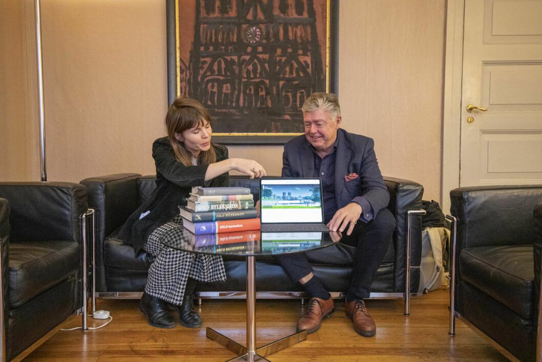 Astrid Ledang og Ole Rikard Høisæther er stolte av det digitale byleksikonet. Foto: Olav Helland