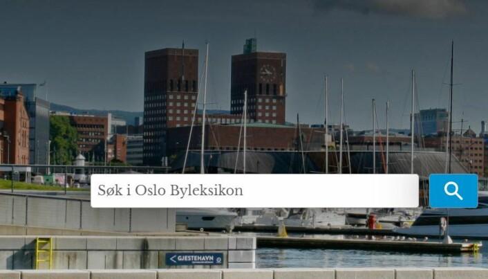 Slik ser Oslo byleksikon ut digitalt. Skjermdump