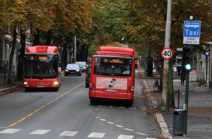 Slik kjørte bussene i Bygdøy allé i fjor høst, før kollektivfeltet ble erstattet med sykkelvei. Foto: Arnsten Linstad