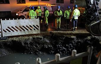 Ny stor vannlekkasje på Sagene. Under reparasjon etter gårsdagens lekkasje sprakk ny vannledning
