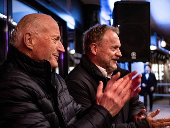 Eiendomsinvestoren Christian Ringnes og byrådsleder Raymond Johansen deltok på åpningsfesten. Foto: Martin Myklebust