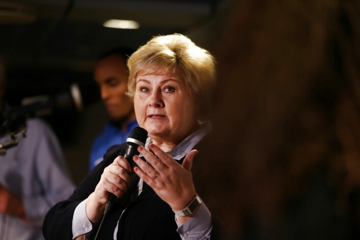Statsminister Erna Solberg deltok på Groruddalstinget på Furuset Forum torsdag kveld. Foto: Ørn E. Borgen / NTB scanpix