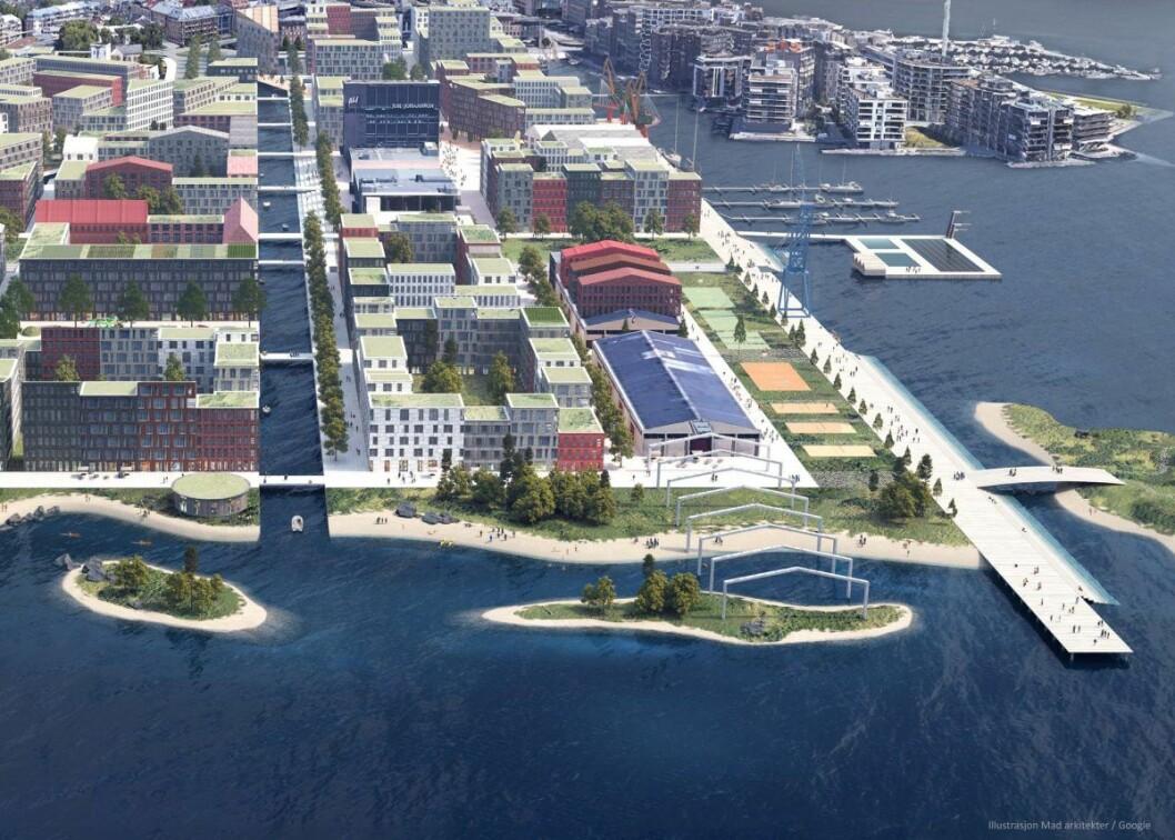 Med kanaler og lavere bebyggelse trukket tilbake fra fjorden, lanserer Mad arkitekter et alternativ til det rødgrønne byrådets Filipstad-plan. Illustrasjon: Mad arkitekter