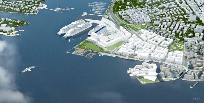 Slik ser Ap/SV/MDG-byrådets plan for Filipstad ut. Dagens fergeterminal blir liggende og bygningene er høyere enn det Mad arkitekter nå foreslår. Illustrasjon: Oslo kommune