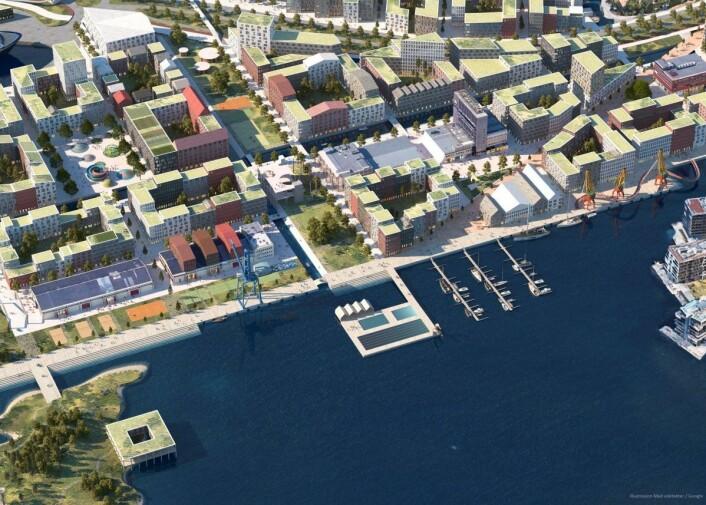 Mad arkitekter har lagt inn kanaler som en del av nye Filipstad i sitt forslag. Illustrasjon: Mad arkitekter