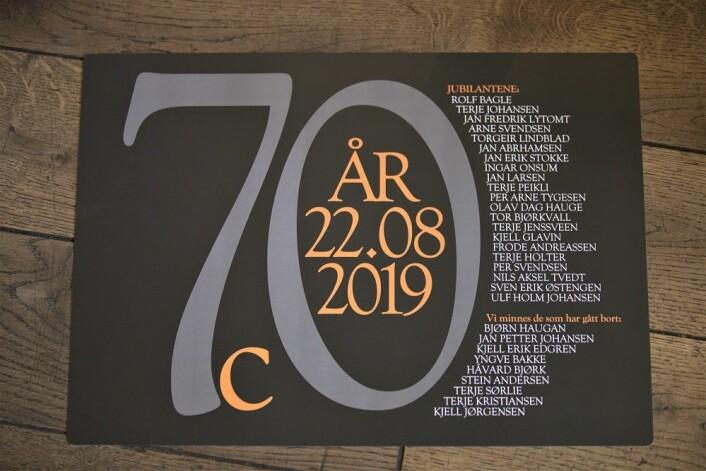 Til 70-årsjubileet ble denne minneplakaten med alle navnene laget. Foto: André Kjernsli