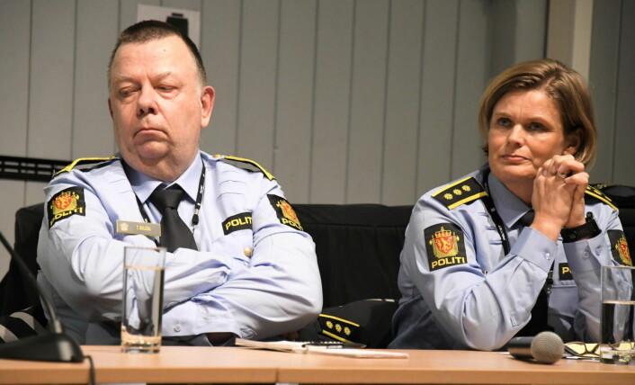 Leder for enhet sentrum i Oslo politidistrikt, Tore Soldal, og seksjonsleder for kriminalitetsforebyggende seksjon i Oslo politidistrikt, Anette Rødsand Lund, skulle gjerne vært mer til stede på Grønland. Foto: Christian Boger